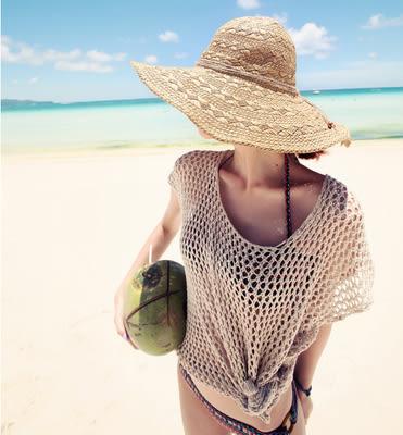 手工編織度假沙灘帽 -34526009