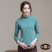 【岱妮蠶絲】立領色織條紋長袖上衣(果綠)