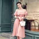 洋裝 禮服 裙子 S-XL新款雙層荷葉邊露肩一字領顯瘦氣質傘裙禮服大擺連身裙G653B-8106.皇潮天下