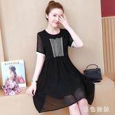 胖女人遮肚顯瘦連身裙2020夏季新款大碼洋氣減齡寬鬆刺繡短袖洋裝 LF3646『黑色妹妹』