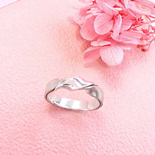 交錯雙質感緞帶扭結戒指 純銀戒指(男款)