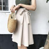 夏季新款韓版蝴蝶結素色簡約百搭a字高腰ins半身裙 伊蒂斯女裝