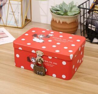 化妆盒 可愛桌面收納盒帶鎖學生ins化妝品口紅首飾儲物鐵盒子密碼證件盒【快速出貨國慶八折】