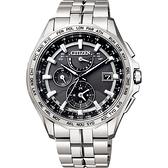 贈鱷魚皮錶帶 CITIZEN 星辰 光動能電波鈦金屬腕錶-灰x銀/42mm AT9091-51H