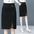 包臀裙職業半身裙包臀裙半身裙中長款春秋季新款黑色職業工裝裙女高腰 快速出貨