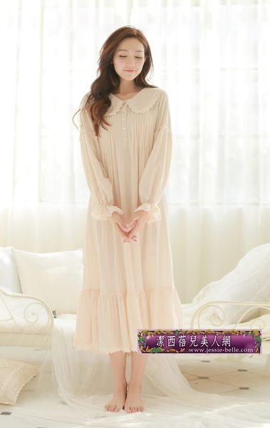 超仙歐式公主睡裙復古宮廷居家服超長寬鬆睡衣裙甜美可愛蕾絲純棉-1119003