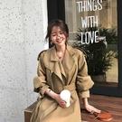 梨卡 - 超長版綁帶風衣大衣外套-韓國秋冬新款寬鬆英倫風中長款繫帶寬鬆風衣過膝風衣外套BR455