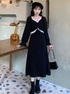 長款洋裝 秋冬季2021年新款小個子法式連衣裙氣質小眾收腰顯瘦中長款裙子女 歐歐