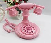復古電話 復古仿古粉色可愛公主電話機有繩座機電話機裝飾擺件 潮先生