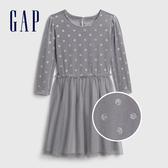 Gap女童甜美絲絨拼接圓領洋裝521694-淺灰色