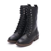 MICHELLE PARK 帥氣騎士風柔軟蠟感羊皮拉鍊綁帶馬丁短靴軍靴 - 黑