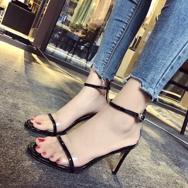 明星同款女鞋新款性感黑色細帶露趾一字帶扣細跟超高跟涼鞋夏 依夏嚴選