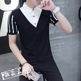 POLO衫 男士短袖t恤夏季青少年假兩件POLO衫正韓男裝上衣 限時8折