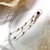 耳環 彩色 珠珠 鍊條 串接 流蘇 個性 長款 耳釘 單只 耳環【DD1906066】 BOBI  07/25