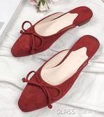 穆勒拖鞋包頭蝴蝶結紅色涼拖平底尖頭涼鞋    琉璃美衣    琉璃美衣