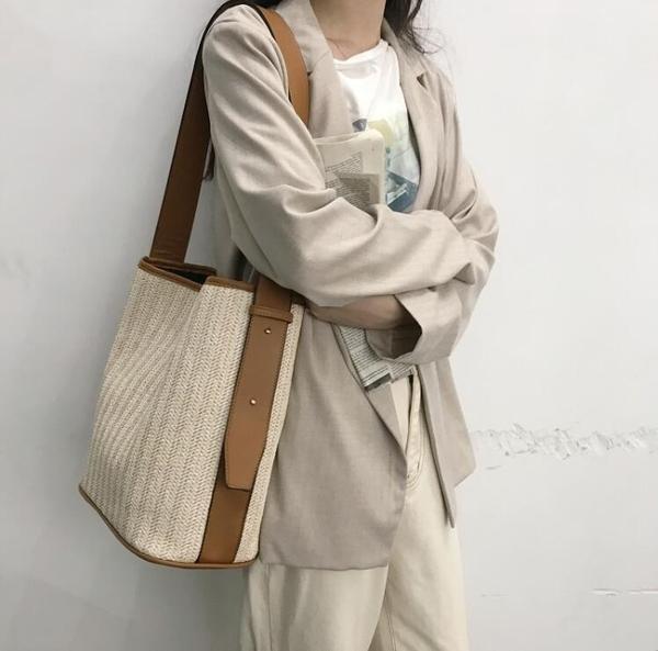 編織包 女包新款夏日韓潮百搭草休閒單肩包女個性大容量包 - 歐美韓熱銷