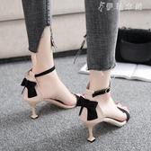 貓跟高跟鞋女少女拼色性感露趾中跟小清新公主一字扣涼鞋 伊鞋本鋪