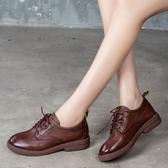 手工真皮女鞋35~40 2020百搭頭層牛皮低跟紳士鞋 小白鞋~3色
