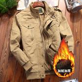軍裝外套-立領純棉多口袋加絨加厚男夾克3色73wn4【巴黎精品】