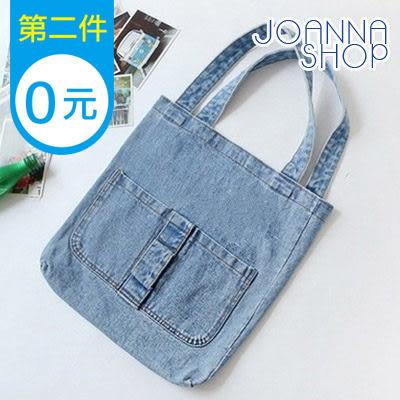 手提包 牛仔車縫雙袋水洗刷色肩背包-Joanna Shop