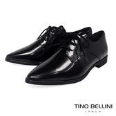 Tino Bellini義大利進口細緻質感牛皮綁帶皮鞋_黑 VI8502 歐洲進口