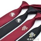襯衫領帶男正裝商務上班職業結婚韓版學生休閒潮刺繡黑色男士手打「時尚彩紅屋」