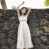 吊帶裙女夏氣質中長款沙灘裙海邊度假波西米亞長裙仙 東京衣櫃