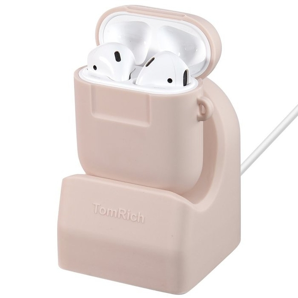 MOOR Airpods 充電底座+保護套(Airpods Charger Stand Dock with Airpods Case Cover ) 粉紅色 t360