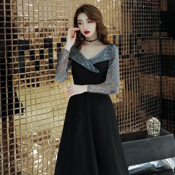 禮服 黑色晚禮服女氣場女王2021新款平時可穿宴會氣質名媛連衣裙長款女【快速出貨八折搶購】