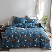 【藍山林童話】單人-台灣製200織精梳棉床包枕套組