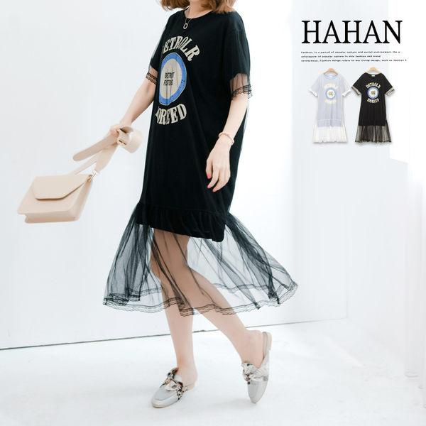 【HC4774】美式圖案蕾絲網紗假兩件洋裝