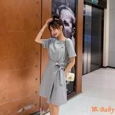 洋裝 新款韓版寬鬆繡花短袖t恤裙夏 收腰顯瘦連身裙中裙 依Baby