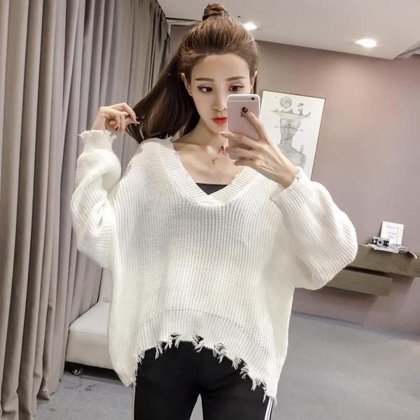 2018秋裝新款韓版氣質針織新款V領長袖不規則下擺針織毛衣上衣女