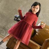 女童洋裝連身裙 韓版童裝打底秋冬款加絨加厚網紗裙純色兒童蓬蓬裙-炫科技