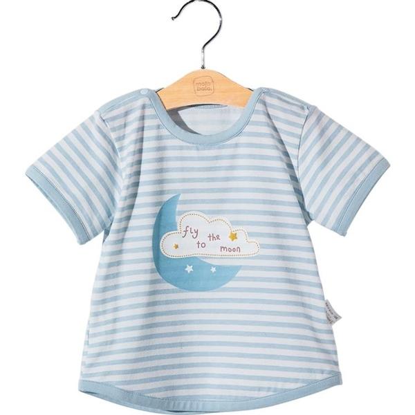 兒童T恤夏季條紋半袖嬰兒卡通上衣女童打底衫小寶寶短袖 茱莉亞
