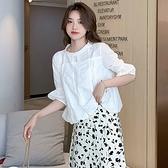 白色蕾絲衫女鏤空寬松燈籠袖娃娃衫上衣 S-2XL短版白色襯衣時尚超仙洋氣襯衫T614快時尚