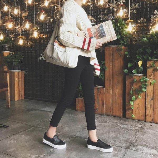 一腳蹬女春學生樂福鞋加絨新款韓版百搭懶人鞋女黑銀色厚底皮面潮 全館免運