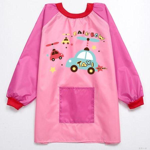 長袖兒童防水圍裙畫畫衣寶寶男女童繪畫罩衣護新衣防水反穿衣 美芭