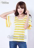 Victoria 條紋拼接雪紡傘狀TEE-女-黃色