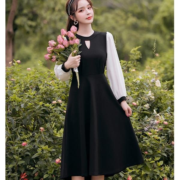 黑白配色香風氣質中長洋裝[99252-QF]美之札
