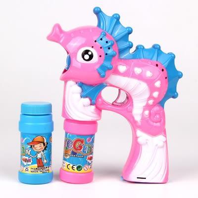 泡泡槍全自動大號電動海馬泡泡槍2瓶水吹泡泡發光音樂泡泡機XD