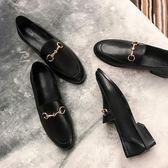 女鞋子2019春季歐美圓頭低跟樂福鞋平跟套腳金屬扣單鞋懶人鞋3cm