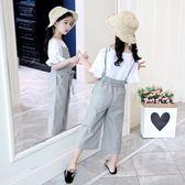 女童夏裝2018新款時髦褲子韓版背帶褲兒童裝中大童洋氣闊腿褲套裝 春生雜貨
