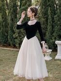 禮服女 春法式少女公主網紗裙溫柔風仙女裙晚會宴會超仙度假禮服連衣裙【快速出貨八折鉅惠】