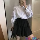 泡泡袖上衣 法式燈籠袖長袖襯衫上衣女2021春秋新款設計感小眾泡泡袖白色襯衣寶貝計畫 上新