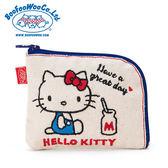《Sanrio》HELLO KITTY*BOOFOOWOO刺繡帆布零錢包(白-側坐牛奶)_495344N