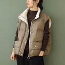 90%白鴨絨輕薄保暖馬甲 純色立領單排扣寬鬆背心外套/3色-夢想家-1023