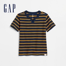 Gap男幼童 棉質條紋設計V領短袖T恤 584570-黃藍條紋