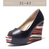 大尺碼女鞋小尺碼女鞋素面百搭舒適魚口彩色紋防水台厚底楔型鞋涼鞋女鞋兩色黑色(31-43)
