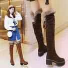 中大尺碼女鞋 冬季兔毛毛長筒靴加絨加厚雪地靴 過膝高筒長靴中跟粗跟女棉鞋雪靴